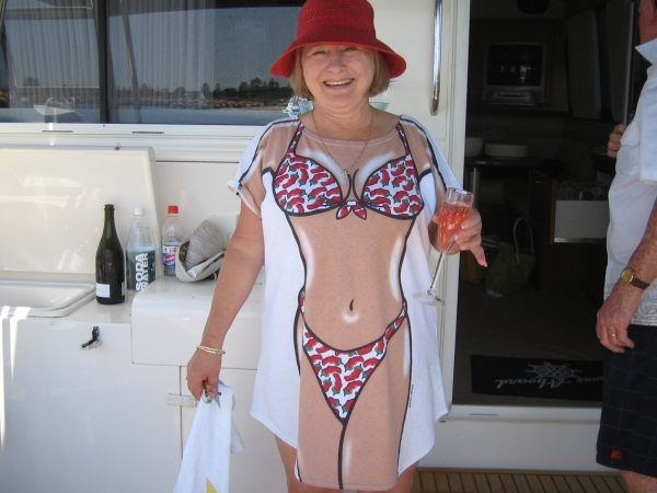 122b23b5c1910 Chillie Bikini Cover-up being worn by happy lady on board a cruise boat in  Esperance